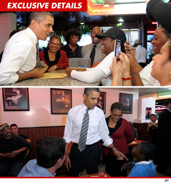 president obama eats chicken at roscoe�s chicken and